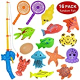 Bath Toy,16 Piece Magnetic Fishing Toy(Random Fish),Original Color Waterproof Floating Fishing Playset Bathtub Pool Bathtime Learning Education Toy for Kids Toddlers,Fishing Game for Kids Party Favors