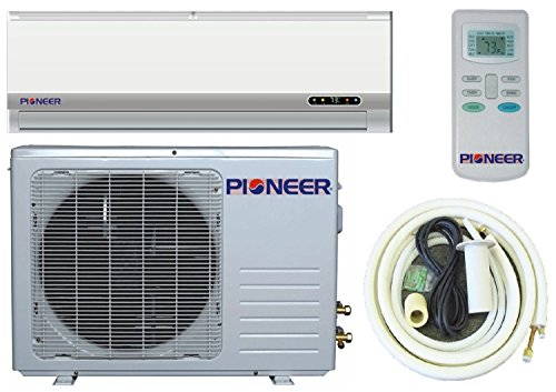 Pioneer Ductless Mini Split Air Conditioner, Heat Pump, 12000 BTU (1 Ton), 13 SEER, Cooling, Heating, Dehumidification, Ventilation. Including 16 Foot Installation Kit. 110~120 VAC.