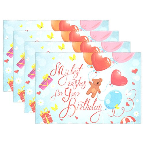 U LIFE Happy Birthday Love Heart Cute Bear Celebration Balloons Plate Place Mats Placemats Mat 12 x 18 Inch ()
