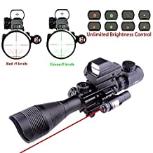 Lovebay 3 in 1 Tactical Rifle Scope 4-12x50EG Dual Illuminated with Holographic 4 Reticle Red&Green Dot Sight and Red Laser Sight for Hunting