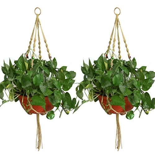 Jmkcoz 2 Pack Plant Hanger Macrame Jute Plant Pot Hanger Plant Holder With  4 Legs 42 Inches For Indoor Outdoor Balcony Ceiling Patio