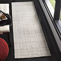Safavieh Abstract Collection ABT141E Contemporary Handmade Light Grey Polyester Blend Runner (23 x 8)