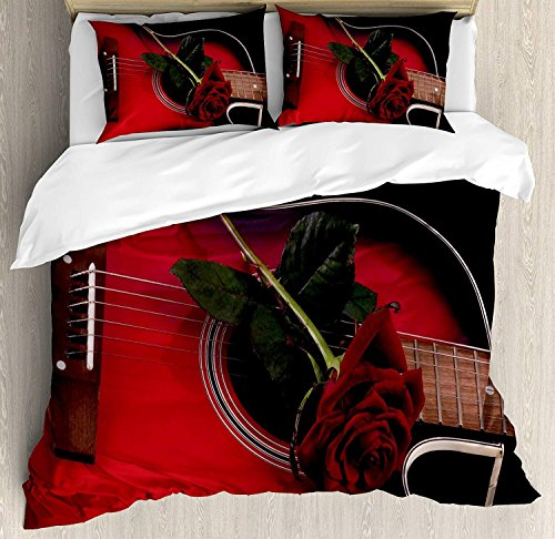 Red and Black 3 PCS Duvet Cover Set, Spanish Musician Portugal Guitar with Romance Theme Love Valentine's Rose, Bedding Set Bedspread for Children/Teens/Adults/Kids, Ruby and White QUEEN / FULL