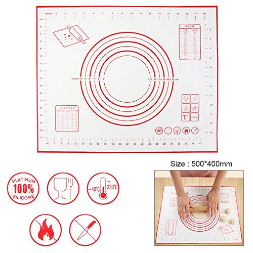 1 piece 500 x 400MM Silicone Fiberglass Baking Pad Mat with Thermostability Scale Nonstick Mat for Baking