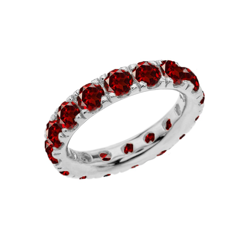 Sterling Silver 4mm January Birthstone Cubic Zirconia Comfort Fit Eternity Band (Size 6)