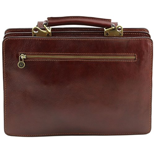 Tuscany Leather Tania Bolso de señora en piel con asas - Modelo grande Marrón oscuro Bolsos con asas Rojo