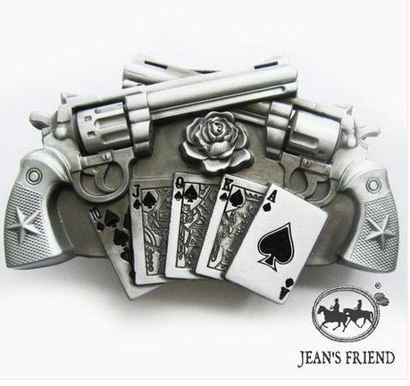 belt buckles men western cowboys cool vintage harley two guns cards - Spade Buckle