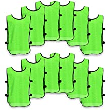 Unlimited Potential Nylon Mesh Scrimmage Team Practice Vests Pinnies Jerseys Bibs for Children Youth Sports Basketball, Soccer, Football, Volleyball (Pack of 12)