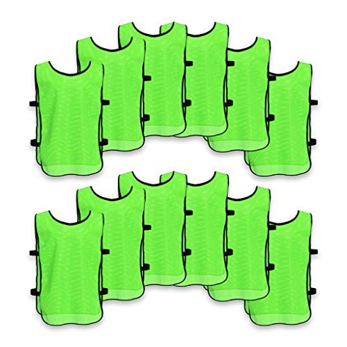 - Unlimited Potential Nylon Mesh Scrimmage Team Practice Vests Pinnies Jerseys Bibs for Children Youth Sports Basketball, Soccer, Football, Volleyball (12 Pack, Open Sided Green, Adult)