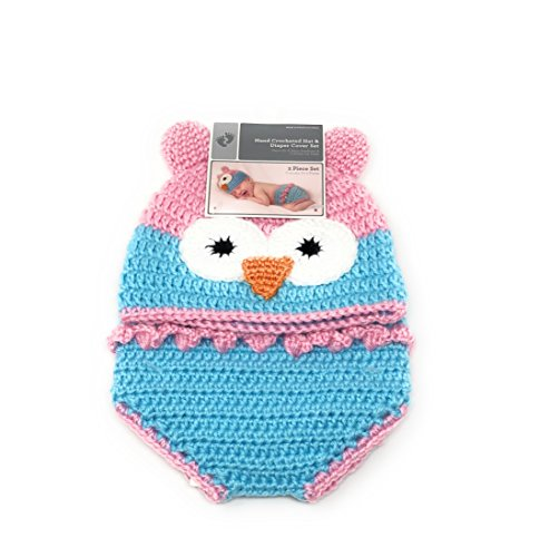 Fabrics Crocheted (Hand Crocheted Baby Hat & Diaper Cover Set (Pink & Blue Owl))