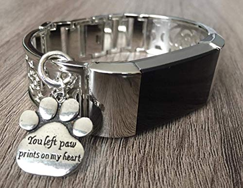 (Silver Metal Band For Fitbit Charge 2 Fitness Tracker Flowers Design Handmade Jewelry Fitbit Charge 2 Bracelet Silver You Left Paw Prints On My Heart Pet Charm Adjustable Size Fitbit Charge 2 Bangle )
