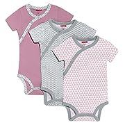 SkipHop Baby Girls' Petite Triangles Side-Snap Short Sleeve Bodysuit Set, Pink, 3 Months