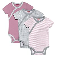 SkipHop Baby Girls' Petite Triangles Side-Snap Short Sleeve Bodysuit Set, Pin...