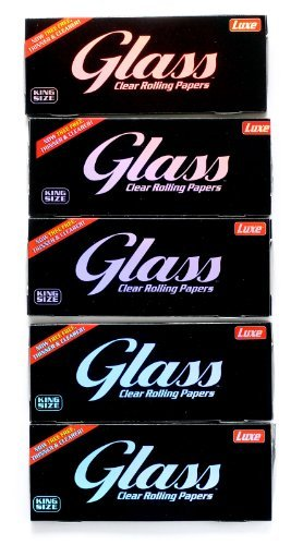 5 booklets x GLASS Clear Rolling paper King Size - 100% Natural - 200 papers (Best Clear Rolling Papers)