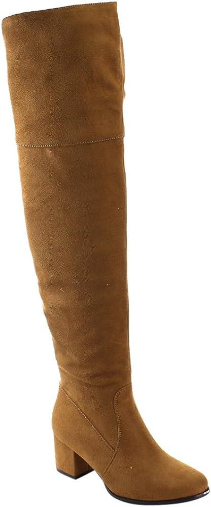 Nature Breeze Women's Linden-01 Over The Knee Mid High Block Heel Boots