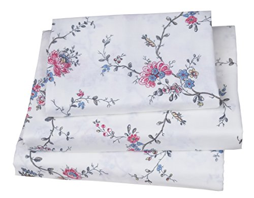 J-pinno Girls Floral Double Layer Muslin Cotton Gauze Bed Sheet Set Twin, Flat Sheet & Fitted Sheet & Pillowcase Natural Hypoallergenic Bedding Set Gift (1, - 1 Flowers Sheet