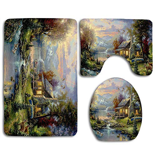 EnmindonglJHO Cabin Scenic Animals Creek Sky Bathroom Rug Mats Set 3 Piece Toilet Carpet Rugs Includes Contour Mat and Lid Cover, Non Slip Mats for Tub Shower