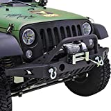 GSI 07-16 Jeep Wrangler JK Rock Crawler Front Bumper with D-Ring and Winch Plate Ready&OE Fog Lights Hole-Textured (Black)