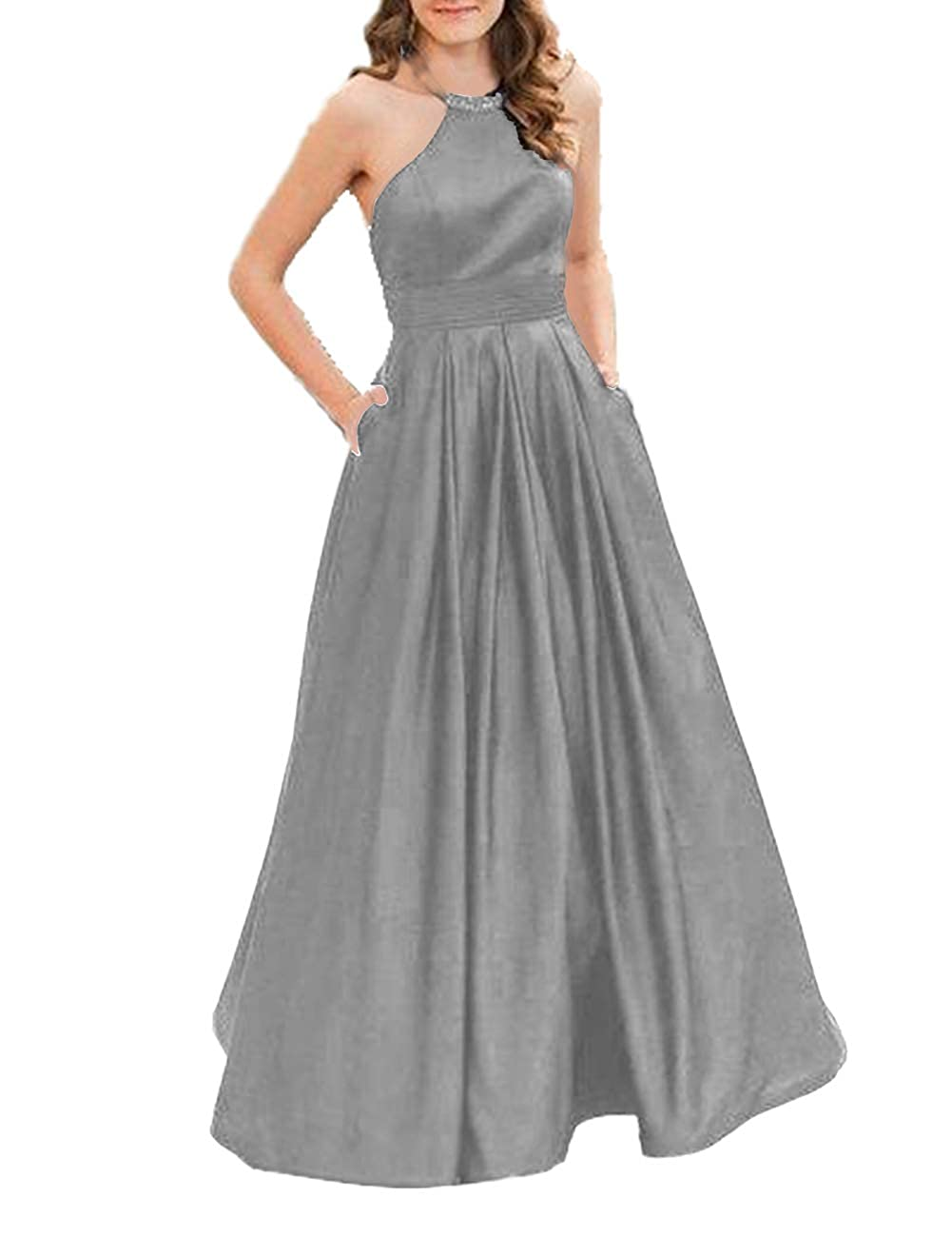 Silver JAEDEN Prom Dress Long Evening Dresses for Women Formal Evening Gowns Halter Prom Dress 2019
