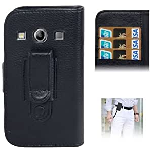 Litchi Texture Leather Case with Removable Belt Clip & Credit Card Slots for Samsung Galaxy Xcover 2 / S7710 (Black)
