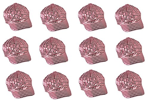 12 Pack - Pink Sparkly Sequin Newsboy Cap Diva Hat Disco Rave (Cheap Disco Diva Costume)