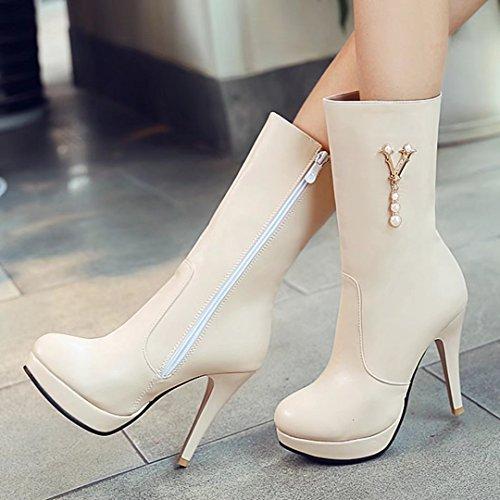 AIYOUMEI Damen Herbst Winter Stiletto Halbschaft Stiefel mit Perle und Plateau Elegant Mid Heel Boots Beige
