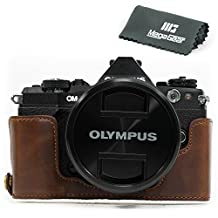 "MegaGear ""Ever Ready"" Leather Half Bottom Camera Case, Bag (Bottom Opening Version) – Protective Cover for Olympus OM-D E-M5 Mark II (Dark Brown)"