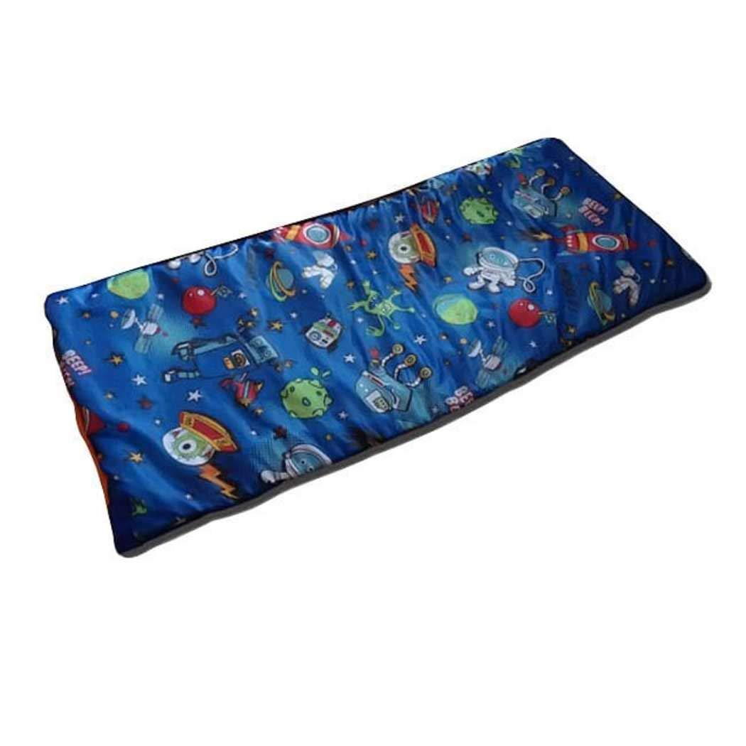Kids Blue Outer Space Themed Sleeping Bag, Science Fiction Spacecraft Planet Stars Astronaut Adventure Motif Sleep Sack Blanket, Rocketship Robot Android Alien Satellites Pattern Bed Roll, Polyester