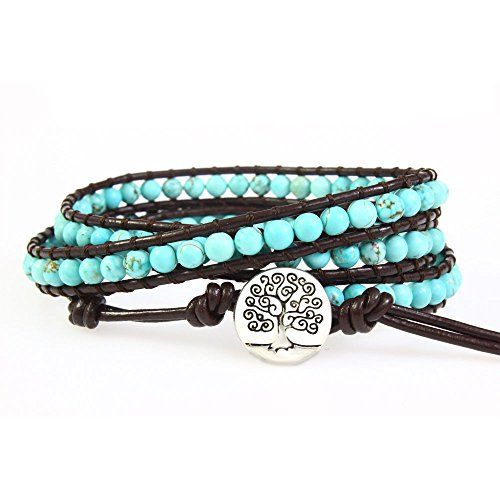 Tree of Life Genuine Leather Bracelet Bangle Cuff Rope Bead 3 Wrap Adjustable Blue Turquoise