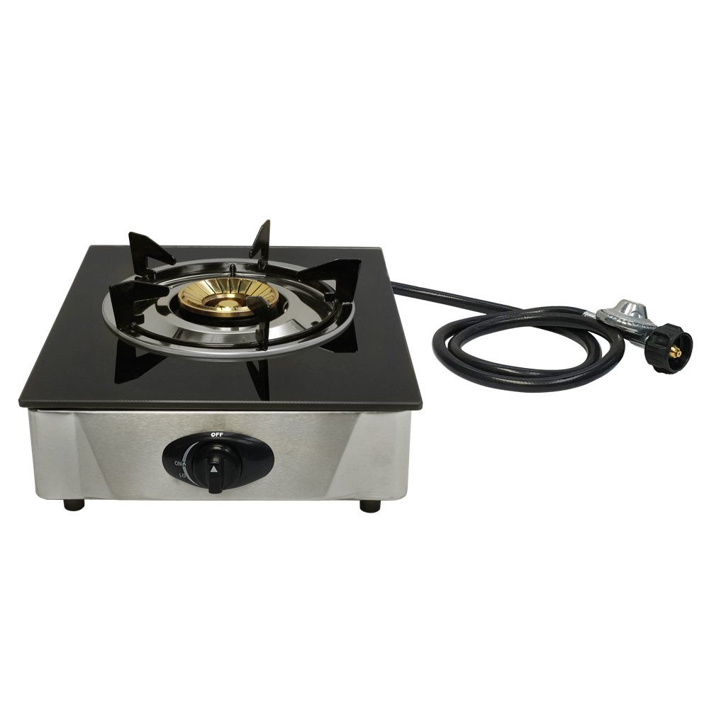 PROLINEMAX 12'' x 14'' Single Propane Gas Stove 1Burner Tempered Glass Cooktop Auto Ignition Stainless Steel Body