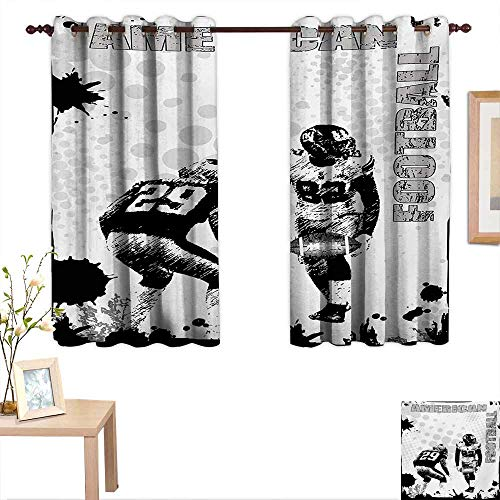 Sports Blackout Draperies for Bedroom Grungy American Football Image International Team World Cup Kick Play Speed Victory 55