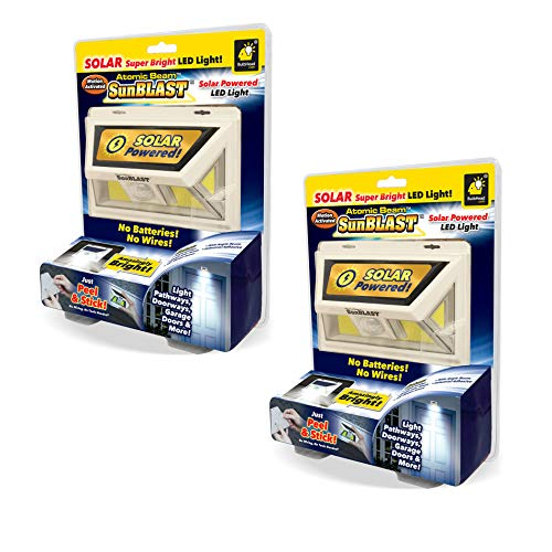 Official As Seen On TV Atomic Beam SunBlast by BulbHead Solar Powered LED Motion Activated Security Light, Industrial Strength Adhesive for Easy Installation (Atomic Beam SunBlast 2 Pack)