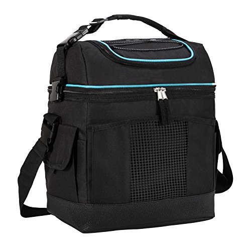 MIER 2 Compartment Cooler Bag Tote Large Insulated Lunch Bag for Picnic, Grocery, Kayak, Car, Travel, 24Can, Black - Insulated Food Compartment