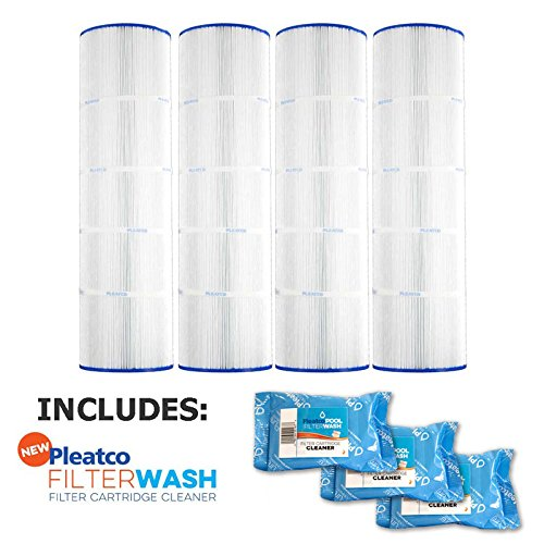 Pleatco Cartridge Filter PA100N-PAK4 Pool Hayward C4000 C4020 CX870RE C-7487 w/ 3x Filter Washes by Pleatco