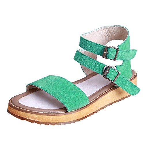 Smilun Lady's Sandals Toe Strap Double Ankle Strap Flip Flop Thongs Sandal Suede Leather Green eb8zpLs
