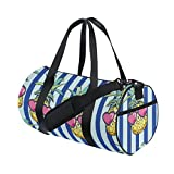 Naanle Pineapple Heart Shape Glasses Blue And White Stripe Gym bag Sports Travel Duffle Bags for Men Women Boys Girls Kids