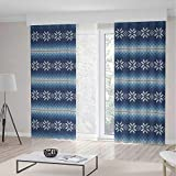 TecBillion Door Curtain,Winter for Living Room,Traditional Scandinavian Needlework Inspired Pattern Jacquard Flakes Knitting Theme Decorative,196Wx104L Inches