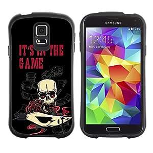 Suave TPU Caso Carcasa de Caucho Funda para Samsung Galaxy S5 SM-G900 / It's In The Game Casino Poker Skull / STRONG