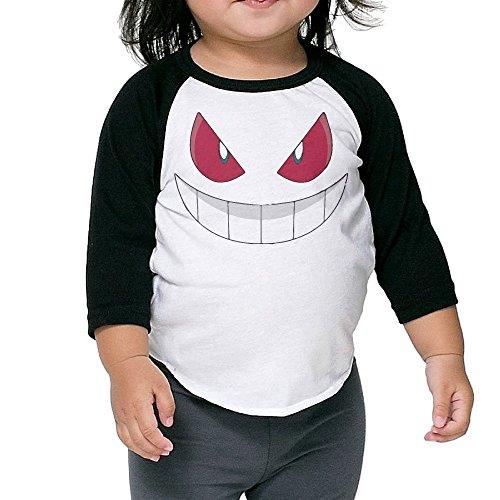 Evil Smiley Grinning Emoji Infant 3/4 Sleeve Raglan Baseball Tee Shirt 2-6 Toddler -