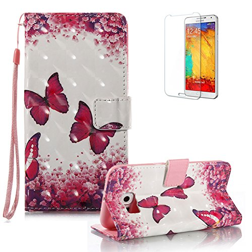 For Samsung Galaxy S6 Case [with Free Screen Protector].Funyye Elegant Premium Folio PU Leather Wallet Magnetic Flip Cover with [Wrist Strap] and [Colorful Printing Painting] Stand Function Book Type Stylish Full Protection Holster Case Cover for Samsung Galaxy S6-Red Butterfly