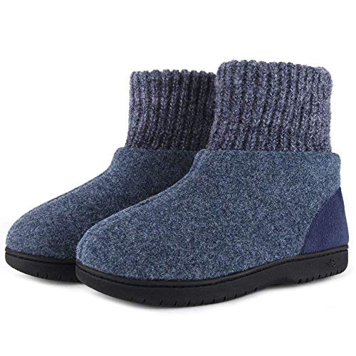 Zigzagger Womens Girls Wool-Like Blend Bootie Slippers Polar Fleece Lining with Adjustable Knit Collar House Shoes Navy 7 M US ()