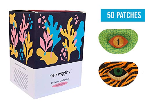 - See Worthy Tiger and Lizard Adhesive Kids Eye Patches, Innovative Shape, Smart Adhesive Technology, Breathable Material and Fun Designs, (50 per Box) (Regular Size)
