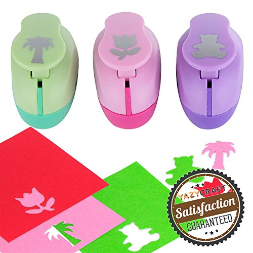 Paper Punch Hole Puncher -- (3 PACK Palm Tree Tulip Bear) -- Personalized Paper Craft Punchers Shapes Set -- For Scrapbook Engraving Kids Artwork -- Greeting Card Making DIY Crafts (Snow Page Scrapbook)