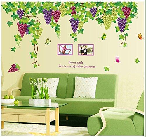 (BIBITIME Plants Purple Grape Vines Green Leaves Butterflies English Letters Photo Frames Wall Decal PVC Home Sticker House Vinyl Paper Decoration WallPaper Living Room Bedroom Art Picture DIY Murals)