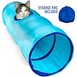 "Blue Krinkle Collapsible Cat Tunnel with Peek Hole and Storage Bag by Weebo Pets (20"")"