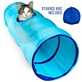 Krinkle Collapsible Cat Tunnel with Peek Hole and Storage Bag by Weebo Pets (36'', Blue)