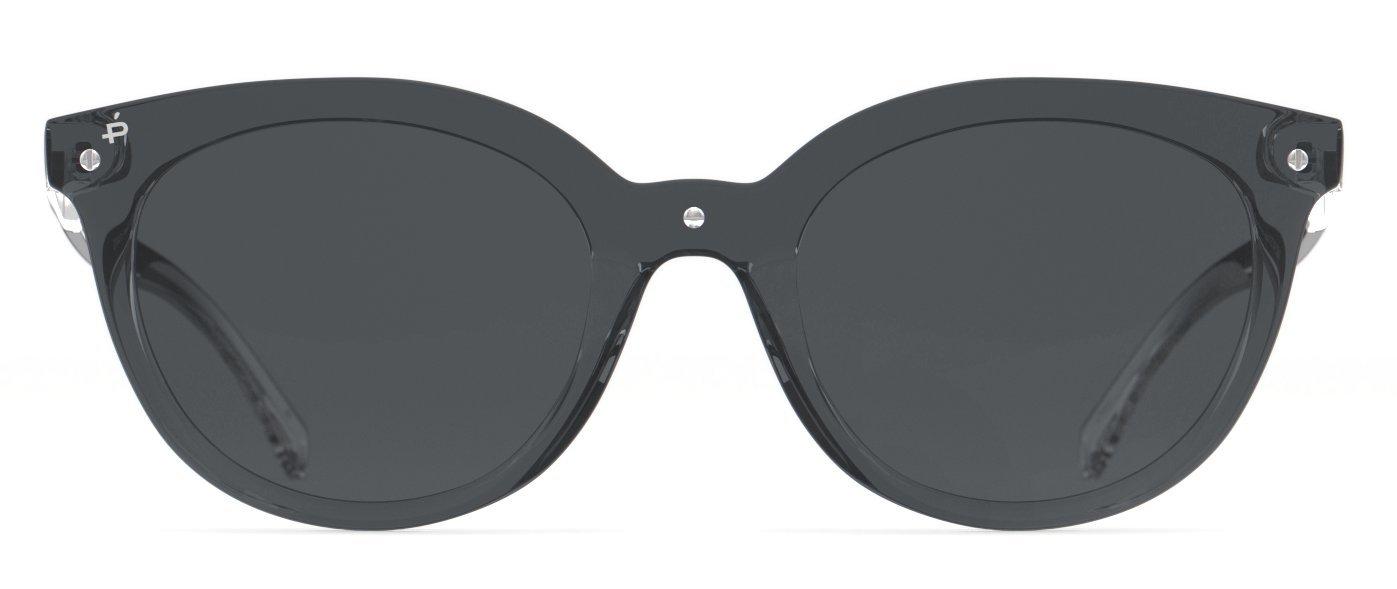 PRIVÉ REVAUX Places We Love Collection''The Casablanca'' Polarized Handcrafted Designer Cat-Eye Sunglasses RandM Colab (Transparent Grey)