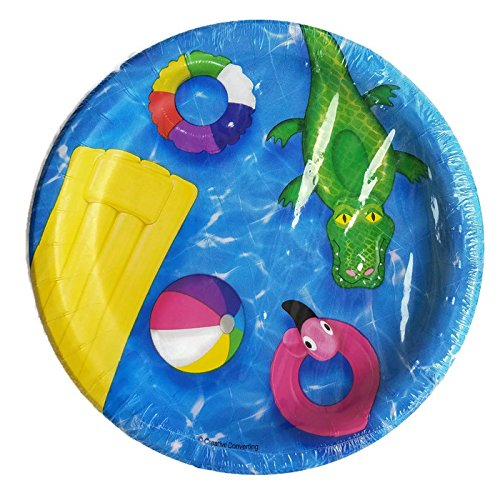 beach ball pool party paper plate napkin and tablecloth set of 5