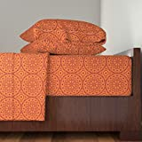 Roostery Africa 4pc Sheet Set Southern Circles (Orange) by Robyriker Queen Sheet Set made with