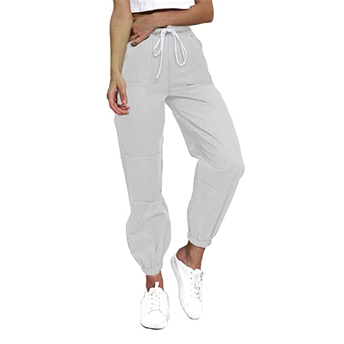 78cf40d5072 Hibote Harem Pants for Women Casual Overalls Loose Solid Color Sweatpants  Drawstring Slim Fit Trousers Comfy